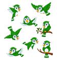set of green bird cartoon posing vector image vector image
