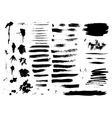 Set of ink hand drawn brush strokes vector image