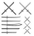set samurai swords design element for logo vector image