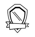 shield guarantee emblem ribbon outline empty vector image vector image