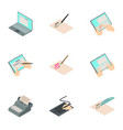 signature tablet icons set isometric style vector image vector image
