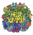 summer items in cartoon style with hello vector image