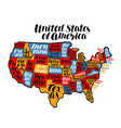 usa map country united states america vector image