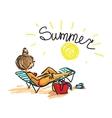 Woman sunbathing on beach Trendy hand drawing vector image