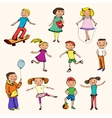 Children characters sketch colored vector image
