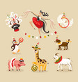 set of circus animals and characters vector image