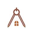 logo house building window circle symbol pencil ve vector image