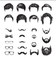 Set of different Hipster haircuts beards glasses vector image