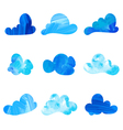 Set of stylized watercolor cloud silhouettes vector image