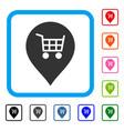 supermarket cart marker framed icon vector image