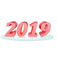 8 happy new year 2019 inscription of red color vector image