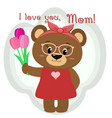 a cute brown bear holds three tulips vector image vector image