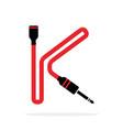 alphabet k letter logo formed jack cable vector image vector image