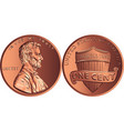 american money gold coin one cent penny vector image vector image