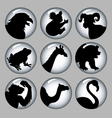 Animal Silhouette Black and White 2 Icons vector image