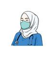 beautiful hijab nurse wearing healthy mask