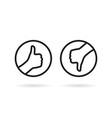 black round thin line thumbs up and down vector image vector image