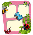 border template with many insects vector image