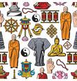 buddhism religion symbols seamless pattern vector image vector image
