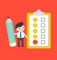 businessman hold pencil with satisfaction form vector image