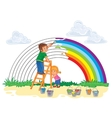Carefree young children paint a rainbow of colors vector image