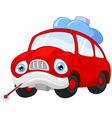 Cartoon car character needing repair vector image vector image