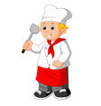 chef holding spatula vector image
