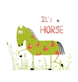 Childish Colorful Fun Cartoon Horse in Grass Field vector image vector image