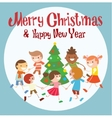 Children round dancing Christmas tree in baby club vector image vector image