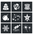 Christmas decorations Icons Set vector image vector image