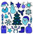 Christmas Patch Blue Set vector image vector image
