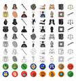 crime and punishment cartoon icons in set vector image vector image