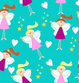 Cute Seamless Pattern for Little Girls Fairy with vector image vector image