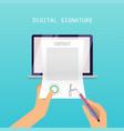 digital signature concept online contract vector image