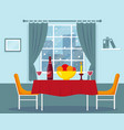 dining table for romantic dinner near window vector image vector image