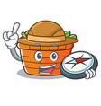 explorer fruit basket character cartoon vector image