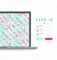 face id concept with thin line icons vector image vector image