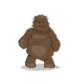 fat bigfoot in cartoon style brown yeti vector image vector image