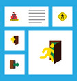flat icon emergency set of open door entry vector image vector image