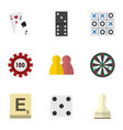 flat icon entertainment set of ace mahjong bones vector image vector image