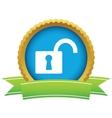 Gold unlock logo vector image vector image