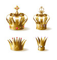 golden royal crowns 3d realistic set vector image