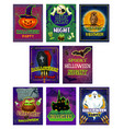 halloween horror night party invitation card vector image vector image