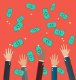 Hands raised throwing and catching money in the vector image