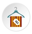 Hanger with scarf and sale tag icon flat style vector image