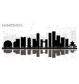 hangzhou china city skyline black and white vector image vector image