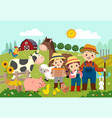 happy farmer and kids with farm animals vector image