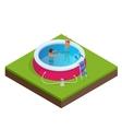 Isometric Portable plastic swimming pool vector image vector image