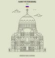 kronstadt naval cathedral in saint petersburg vector image