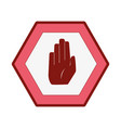 line color warning metal notices with stop sign vector image vector image
